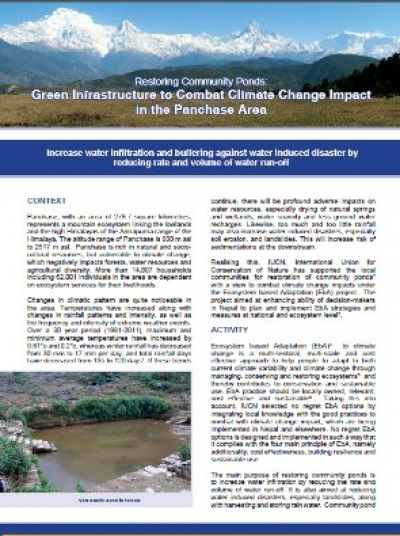 Green Infrastructure to Combat Climate Change Impact in the Panchase Area